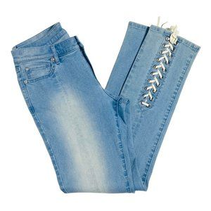 NY&Co Women Size 10 Light Wash High Rise Lace up front Straight Leg Denim Jeans